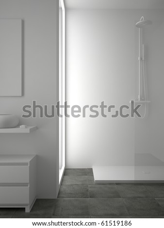 3d render of white bathroom with tile on floor