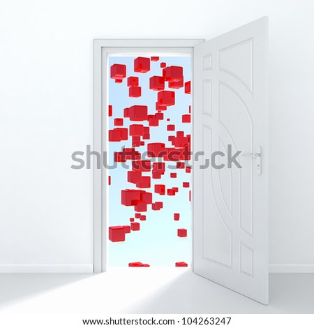 3d render of white door opened to mysterious place