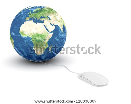 3d render of white glossy computer mouse connected to a globe Earth