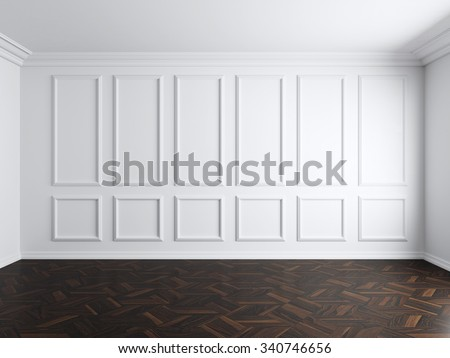 3d render of white interior with panels on wall