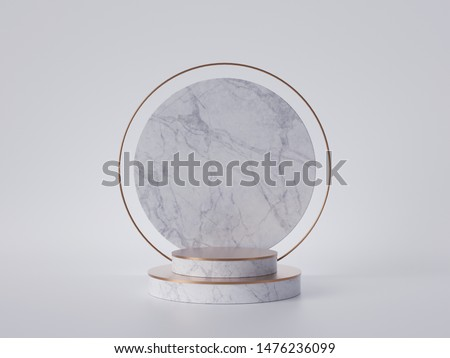 3d render of white marble round pedestal isolated on white background, gold frame, memorial board, cylinder steps, abstract minimal concept, blank space, clean design, luxury minimalist mockup