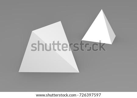 3d render of white pyramid on a gray background