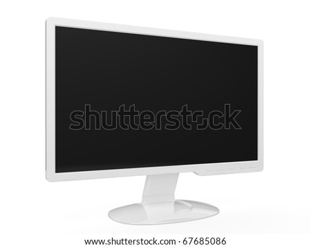 3d render of white widescreen HDTV LCD monitor