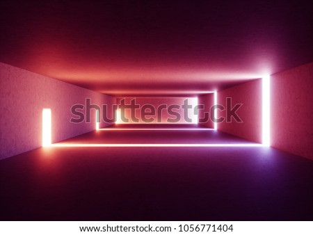 3d render of wide abstract illuminated empty corridor interior made of gray concrete, glowing red lines with shadow, daylight tunnel with no exit, violet light rays, minimalistic space