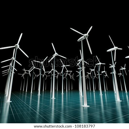 3d render of wind generators