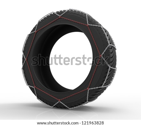 3d render of winter tire chains