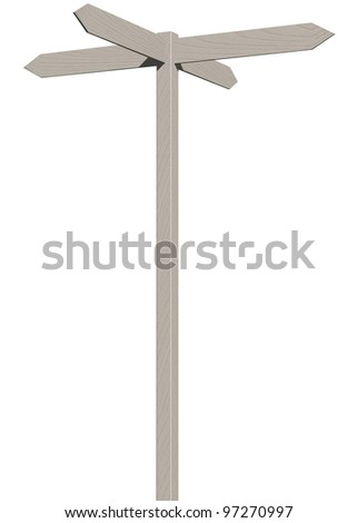 3d render of wooden arrows road sign isolated on white