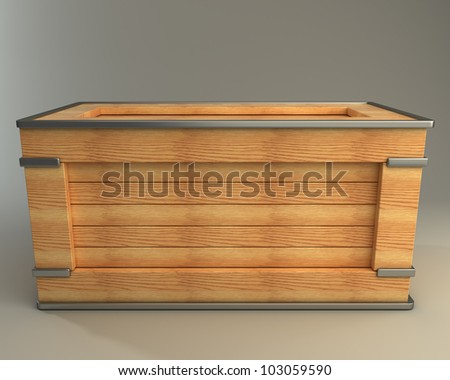 3d render of wooden box  high resolution - stock photo