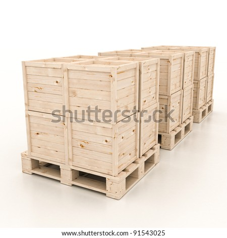 3d render of wooden boxes on pallet on white