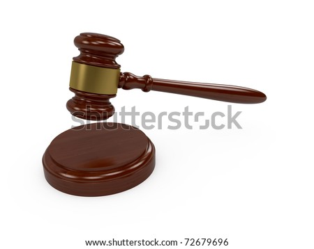 3d render of wooden judge gavel on white background - stock photo