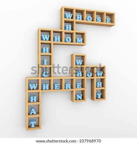 3d render of wooden shelf with question words crossword