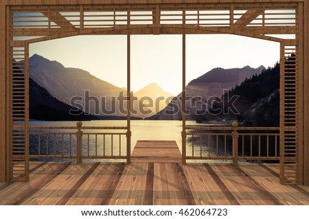 3D render of wooden terraces with view to the mountain lake