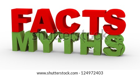 3d render of word facts breaking word myths