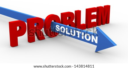 3d render of word problem and solution arrow. Concept of customer help and support.