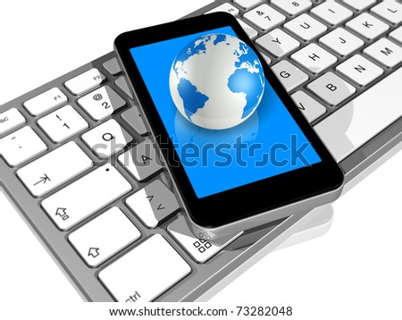 3D render of world globe on a mobile phone on a computer keyboard