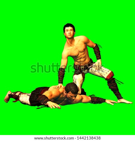 3d render on green background of male free fight scene