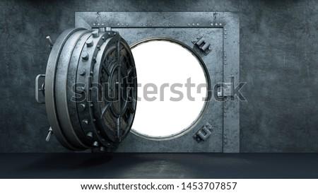 3d render Opening Of The Vault Door In Bank Сток-фото ©