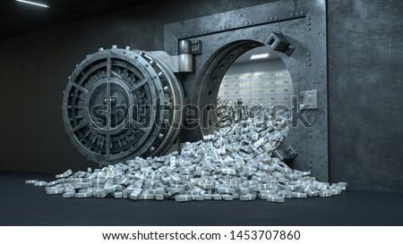3d render Opening Of The Vault Door In Bank with a lot of money Сток-фото ©