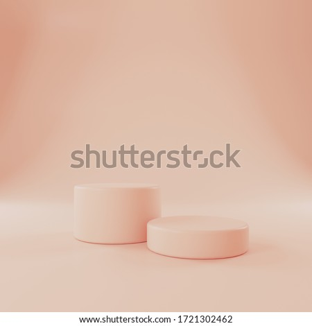 3D render. Orange shapes in pastel colors. Scene with geometric shapes. Presentation of cosmetics.