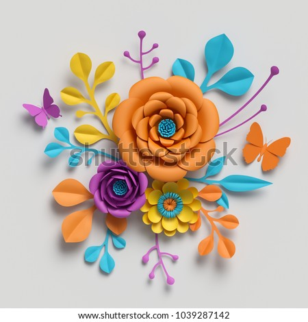 3d render, paper flowers bouquet, vivid color palette, botanical background, isolated clip art, round bouquet, floral arrangement