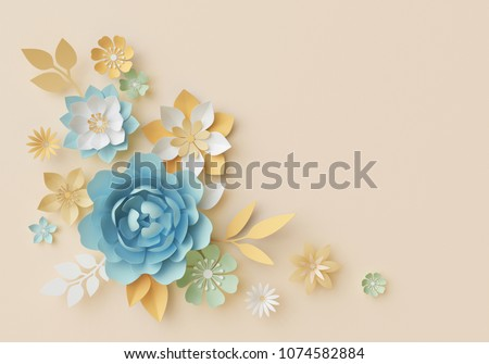 3d render, pastel paper flowers, botanical design, corner element, beautiful bouquet, floral arrangement, isolated clip art, nursery wall decor, baby blue, rose, peony, daisy, leaves