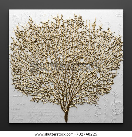 3D render Picture in gold coral
