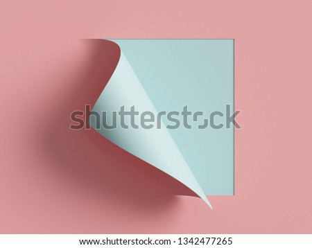 3d render, pink blue note paper, curled corner, page curl. Abstract creative background, modern mock up. Design element for advertising and promotional message.