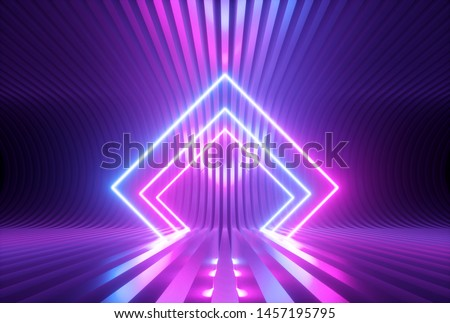 3d render, pink blue violet neon abstract background with glowing rhombus shapes, ultraviolet light, laser show performance stage, floor reflection, blank rectangular frame gates
