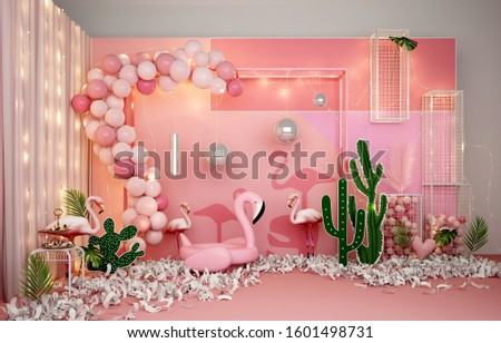 3d render pink color decor, christmas decor