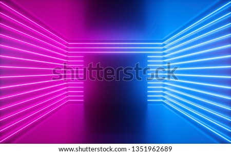 3d render, pink neon lines, square shape inside empty room, virtual space, ultraviolet light, 80's style, retro disco club interior, fashion show stage, abstract background
