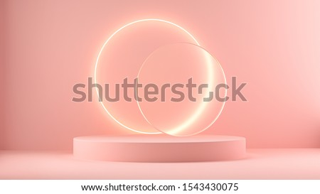 3d render pink platform with neon shining and transparent glass rings. Geometric shapes composition with empty space for product design show. Minimal banner mockup.