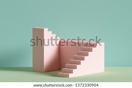 3d render, pink stairs, steps, abstract background in pastel colors, fashion podium, minimal scene, architectural block, design element
