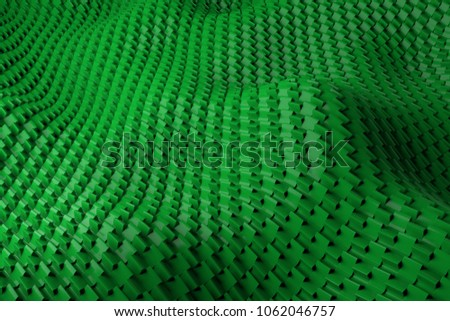 3d render plastic background with reflections. Displacement surface. Random patterns extruded from the wavy shape. #1062046757