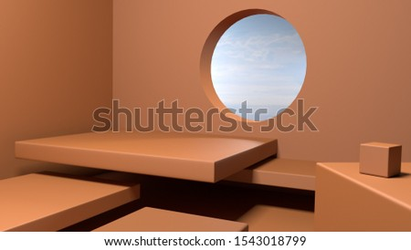 3D render podium abstract background orange color with copyspace for product