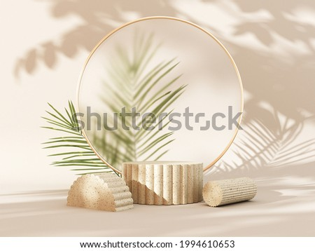 3D render podium, showcase on light pastel background with shadows in green tropical leaves of plants. Abstract natural,organic background for advertising products, spa body care, relaxation, health.