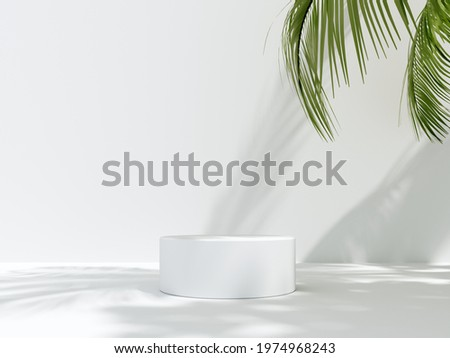 3D render podium, showcase on light white background with shadows in green tropical leaves of plants. Abstract natural,organic background for advertising products, spa body care, relaxation, health.
