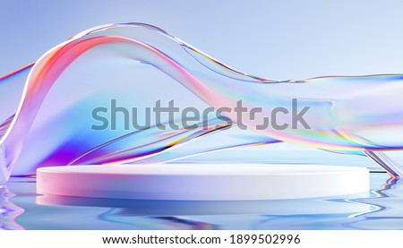 3d render podium with transparent glass wavy ribbon on water. Abstract geometric background in holographic blue colors. Modern platform mock up for promotion banners, product show presentation