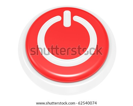 3d render power button on white background