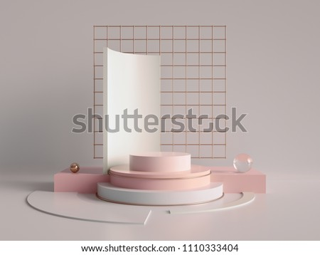 3d render, primitive shapes, abstract geometric background, cylinder podium, modern minimalistic mock up, blank template, rose gold metal grid, empty showcase, shop display, blush pink pastel colors