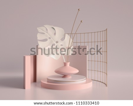 3d render, primitive shapes, abstract geometric background, cylinder podium, modern minimalistic mock up, template, rose gold metal grid, palm leaf, showcase, shop display, blush pink pastel colors