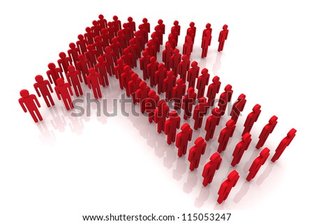 3D Render Red Color Human Arrow Group