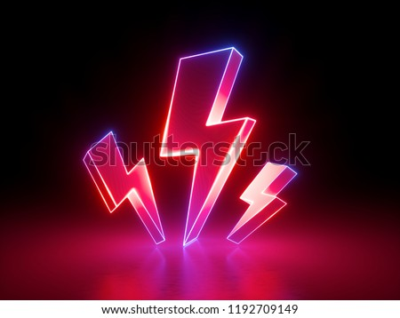 3d render, red flash lightnings, electric power symbol, retro neon glowing sign isolated on black background, ultraviolet light, electricity, electric lamp, adult sex icon, fluorescent element