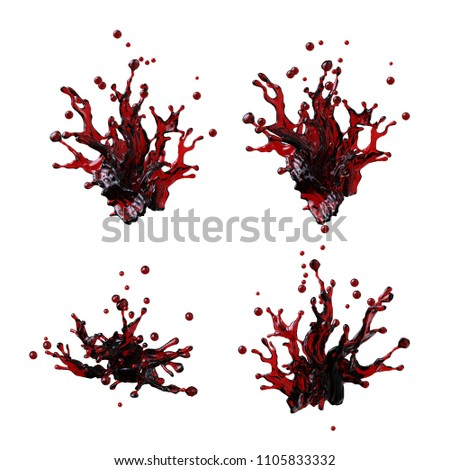 3d render, red liquid splash, grungy blot, wine, cranberry juice, fruit tea, color ink, wavy jets, clip art collection, design elements isolated on white background
