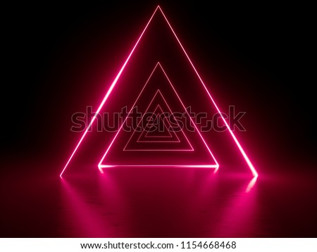 3d render, red neon triangular portal, glowing lines, triangle, tunnel, corridor, virtual reality, abstract fashion background, violet neon lights, arch, infrared spectrum vibrant colors, laser show