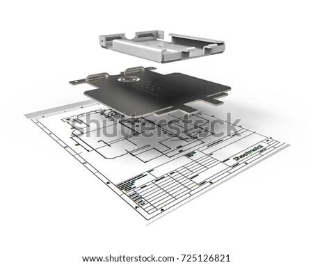 3D render representing sheet metal design/ Sheet metal design