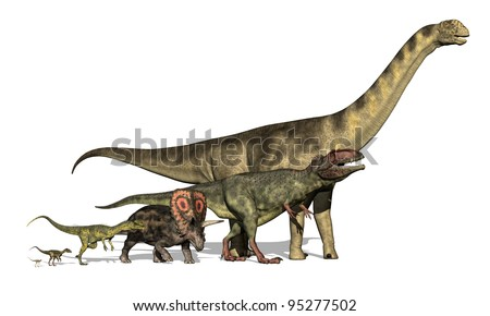 3d render revealing the variations in size among dinosaur species. Dinosaurs are ( small to large) the Compsognathus, Ornitholestes, Dilophosaurus,Torosaurus, Giganotosaurus and the Camarasaurus.