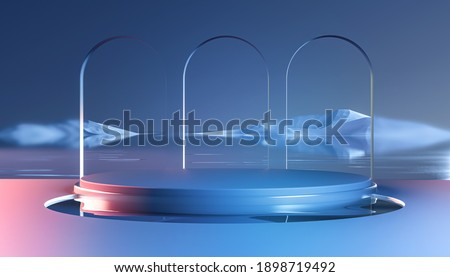 3d render round podium on water with glass wall, arch and mountains. Minimal mockup for product display banner in natural style. Modern design promotion mock up. Geometric background with empty space.