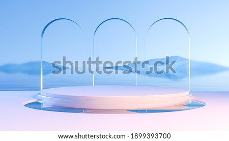 3d render round podium on water with glass wall, arch and mountains. Minimal mockup for product presentation banner. Modern design promotion mock up. Geometric background with empty space.