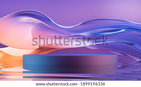 3d render round podium with glass wavy ribbon on water. Abstract geometric background in bright purple and orange colors. Modern platform mock up for promotion banners, product show presentation.