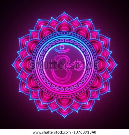 3d render, sacred geometry, Sahasrara chackra symbol, neon light abstract background, spiritual chakra symbol, religious sign, esoteric mandala, modern illustration Stock photo ©